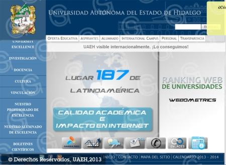 Sitio Web de la UAEH, herramienta de la visibilidad y prestigio internacional