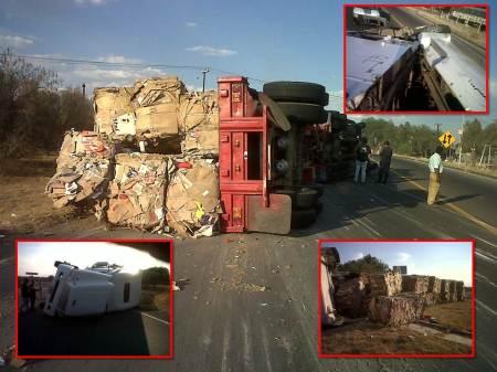 volcadura de trailer en tizayuca