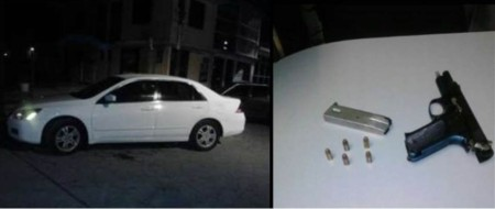 auto y arma de presuntos agresores federales
