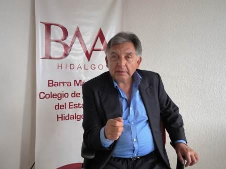 Alfonso Escorza Castro, presidente de la barra de abogados de hidalgo