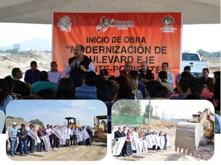 Inician trabajos para la modernización del bulevar Juárez Sur y la tercera etapa del Eje Oriente-Poniente en Tizayuca