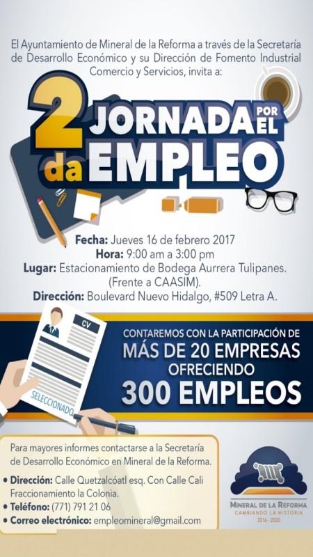 Se llevará a cabo la Segunda Jornada por el Empleo en Mineral de la Reforma  .jpg
