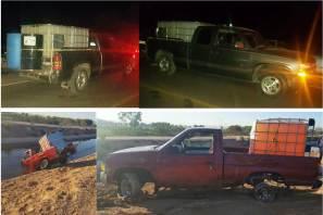 Aseguran en tres regiones de Hidalgo siete vehículos, contenedores y combustible