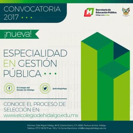 El Colegio del Estado de Hidalgo abre la Especialidad en Gestión Pública