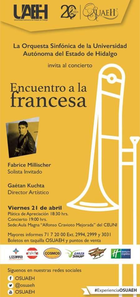 Fabrice Millischer en concierto con la Orquesta Sinfónica de la UAEH