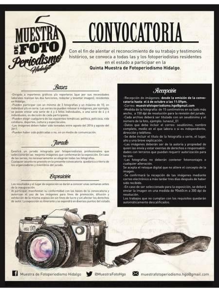 Abre convocatoria para la Quinta Edición de la Muestra de Fotoperiodismo Hidalgo