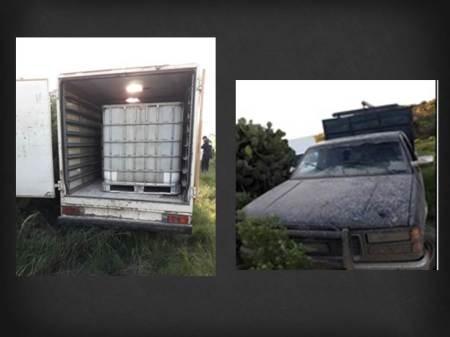 """Aseguran en Tepeapulco y Tlanalapa cinco camionetas utilizadas para cargar """"huachicol"""""""