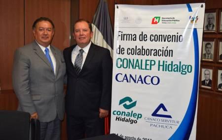 Firman convenio de colaboración CONALEP Hidalgo- CANACO SERVyTUR Pachuca para el fortalecimiento de la formación dual 2