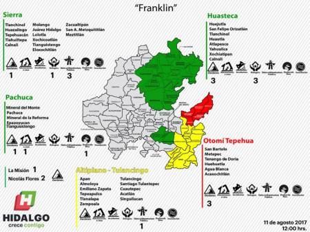 Franklin causa en Hidalgo 11 deslaves en carreteras y daños a más de 600 viviendas