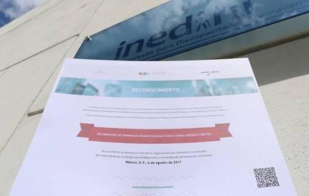 INADEM reconoce a la La Incubadora de Empresas para Discapacitados Hidalguenses INEDIHI de la  Fundación Hidalguense A.C. .jpg