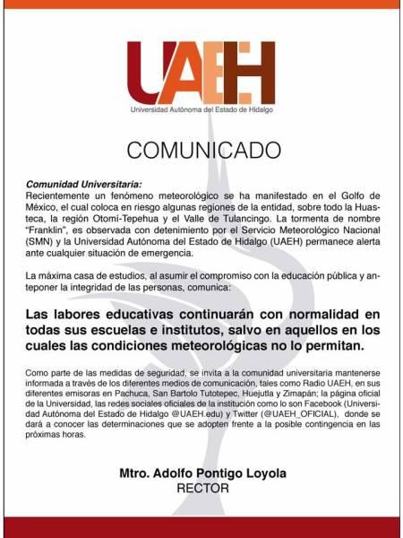 La UAEH continuará con las labores educativas con normalidad, salvo en las regiones con situación de emergencia