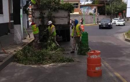 Servicios municipales de Pachuca trabaja en el mantenimiento de vías principales