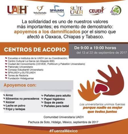 Convoca UAEH a donar víveres para damnificados por sismo