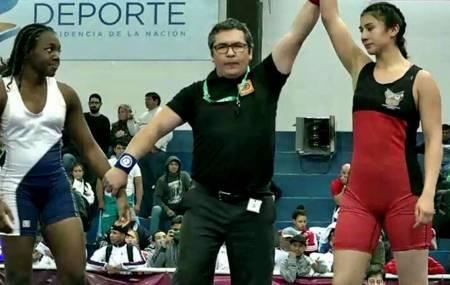 Gabriela Canales se presenta en el Mundial de Lucha de Cadetes