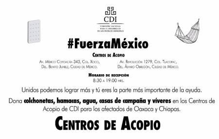 La CDI instala Centros de Acopio para apoyar a la población de Oaxaca y Chiapas.jpg