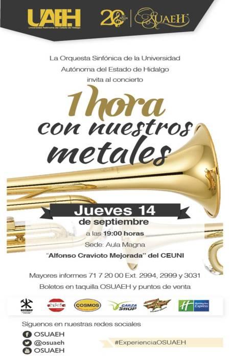 """OSUAEH presenta concierto """"1 hora con nuestros metales"""""""