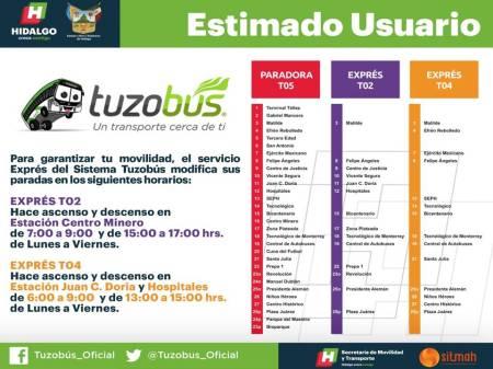 Para mejorar movilidad de usuarios, el servicio exprés de Tuzobús modifica sus paradas en distintos horarios1.jpg