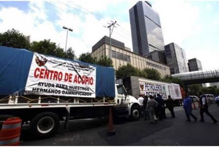 Petroleros entregan más de 26 toneladas de ayuda a damnificados por sismos