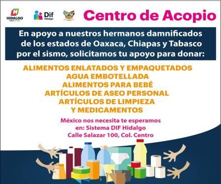 Sistema DIF Hidalgo abre centro de acopio en apoyo a los estados afectados