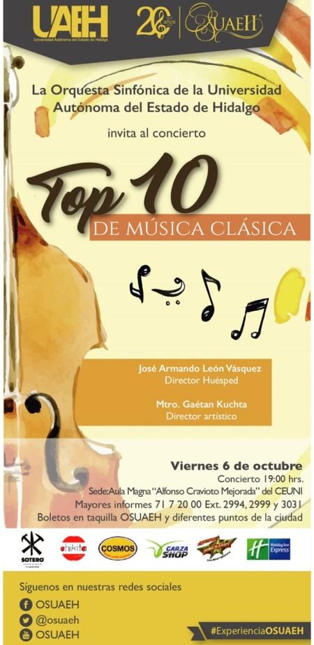 Orquesta Sinfónica de UAEH interpretará Top 10 de música clásica