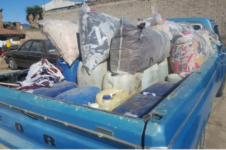 Aseguran camioneta cargada combustible robado ; un detenido