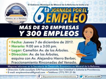 Invita alcade Raúl Camacho a Sexta Jornada por el Empleo en Mineral de la Reforma, próximo jueves en Rinconadas del Venado