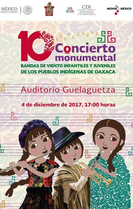Más de mil 300 músicos de las regiones indígenas de Oaxaca participarán en el Décimo Concierto Monumental de Bandas de Viento