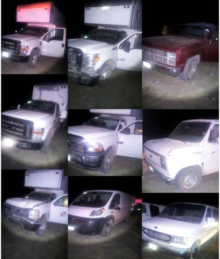 Asegura policía estatal nueve vehículos robados e hidrocarburo en Tula