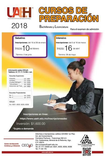 Invita UAEH a inscribirse a Cursos de preparación para Bachillerato y Licenciatura