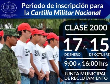 La Junta Municipal de Reclutamiento invita a los jóvenes de la clase 2000 a tramitar la obtención de su Cartilla Militar