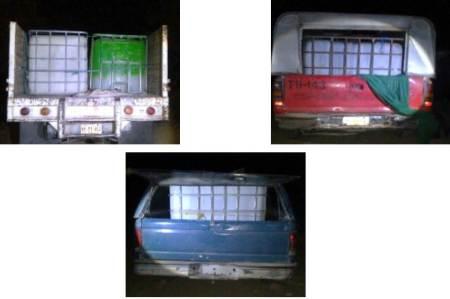 Agentes de la Policía de Investigación aseguraron 3 mil litros de hidrocarburo y tres unidades.jpg