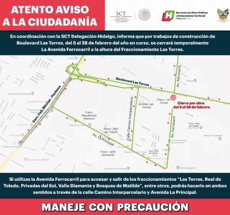 Aviso de Cierre parcial, por construcción del boulevard las Torres