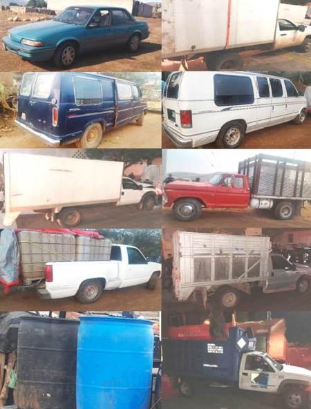 Aseguran en Tulancingo 10 vehículos y 14 mil litros de combustible ilegal