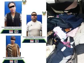 Detienen en Tepeapulco a tres personas que tenían mercancía robada de una tienda departamental