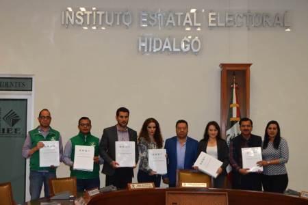 IEEH recibe solicitud de registro de candidatura común del PRI, PVEM, Nueva Alianza y PES presentan para diputaciones locales