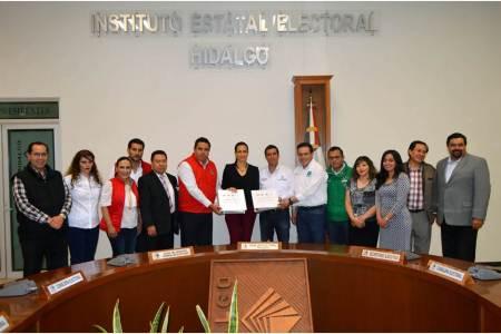 IEEH recibe solicitud de registros de candidaturas a diputaciones locales del PRI, PVEM, Nueva Alianza Y PES, bajo la figura de candidatura común