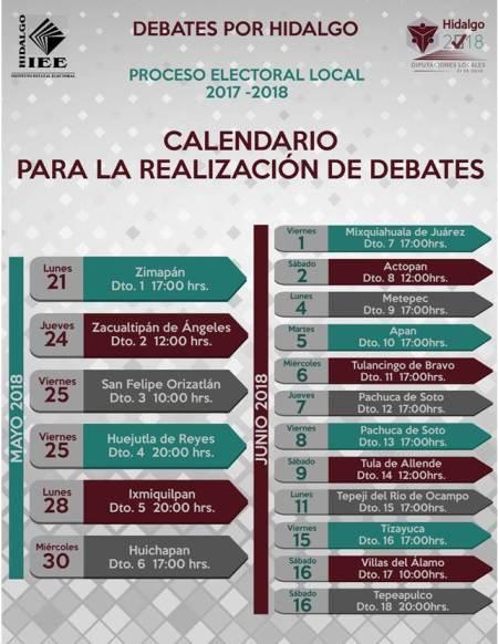 calendario de debates actualizado