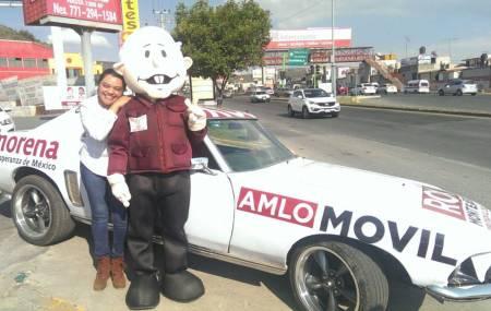 """Llega """"AMLO pachoncito"""" para apoyar a los morenos de Mineral de la Reforma"""
