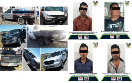 Aprehenden en Zempoala y Nopala a cuatro imputados en delitos relacionados a hidrocarburos