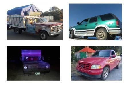 Aseguran camionetas, tres de ellas usadas para el probable traslado de hidrocarburo robado