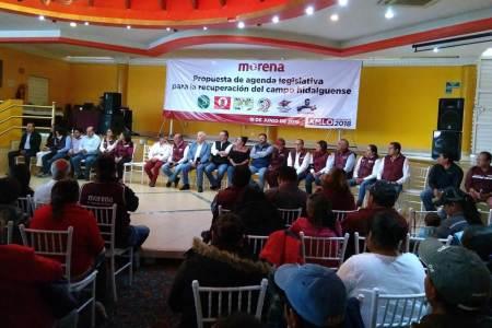 Candidatos de Morena suscriben agenda legislativa para apoyo e impulso del campo de Hidalgo
