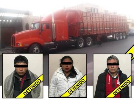 Detectan y detienen a integrantes de probable banda dedicada al asalto de autotransporte de carga