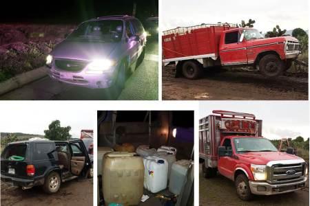 Detienen en Tepeapulco a dos personas y aseguran 4 vehículos utilizados para el transporte de hidrocarburo robado