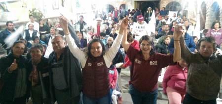 Militantes de Morena en Epazoyucan cierra filas con Rox Montealegre