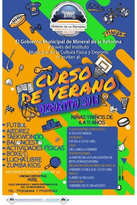 Promoción de actividades deportivas para niñas y niños, para este verano en Mineral de la Reforma