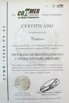 Tizayuca segundo municipio de la entidad en recibir la certificación por parte de la COFEMER-4