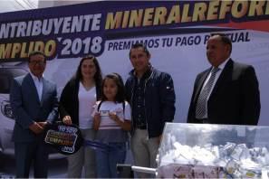 """Encabeza Raúl Camacho Baños sorteo """"Contribuyente mineralreformense cumplido"""" ¡ya hay ganador de automóvil 2018!"""