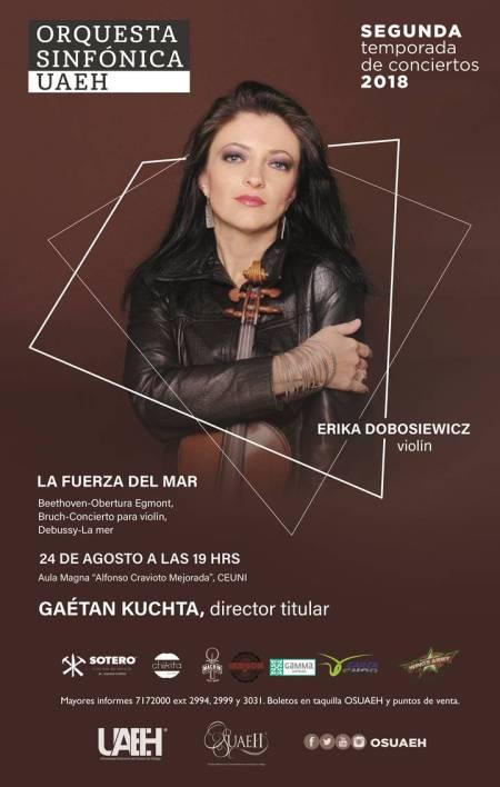 La violinista Erika Dobosiewicz ofrecerá concierto con la Orquesta Sinfónica de la UAEH .jpg