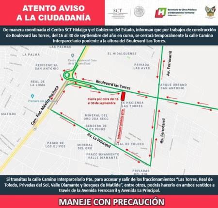 SOPOT recuerda a usuarios que permanecerá cerrada la calle Camino Interparcelario,  del 16  al  30 de septiembre.jpg