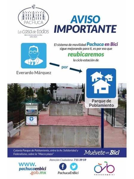 Reubicarán estación de Pachuca en Bici para llegar a un mayor número de usuarios